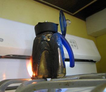 flaming coffee pot