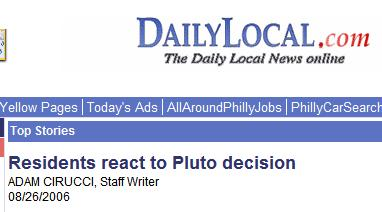 Headline: Residents react to Pluto Decision